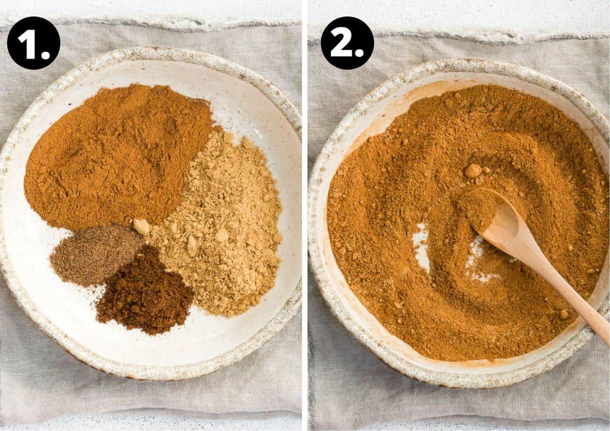the two steps to make this recipe - the individual spices on a plate and the spices mixed together.