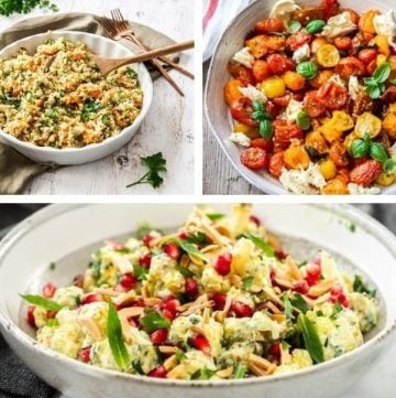 photo collage of three recipes - sweet potato quinoa, roasted tomato caprese and roasted cauliflower salad.