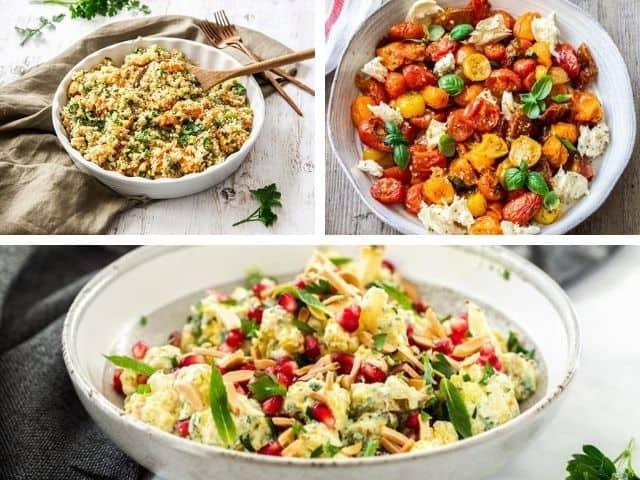 photo collage of three recipes - sweet potato quinoa, roasted tomato caprese and roasted cauliflower salad.