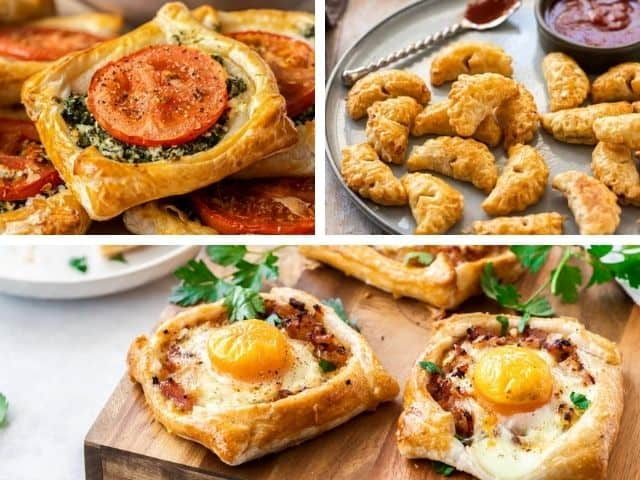 three images showing spinach galettes, bacon pasties and bacon and egg galettes in a collage.