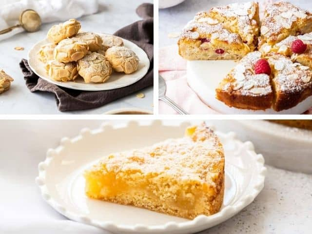 three images showing cookies, pear cake and lemon cake.