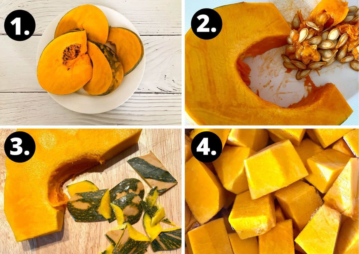 The first four steps to make this recipe in a collage - slices of pumpkin on a white plate, de-seeding the pumpkin, peeling the pumpkin and chopping the pumpkin into cubes.