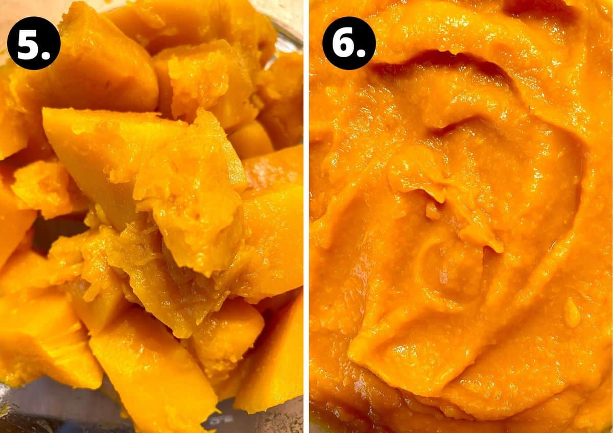 the fifth and sixth step to prepare this recipe in a photo collage - the cooked pumpkin pieces and the pumpkin after being pureed.
