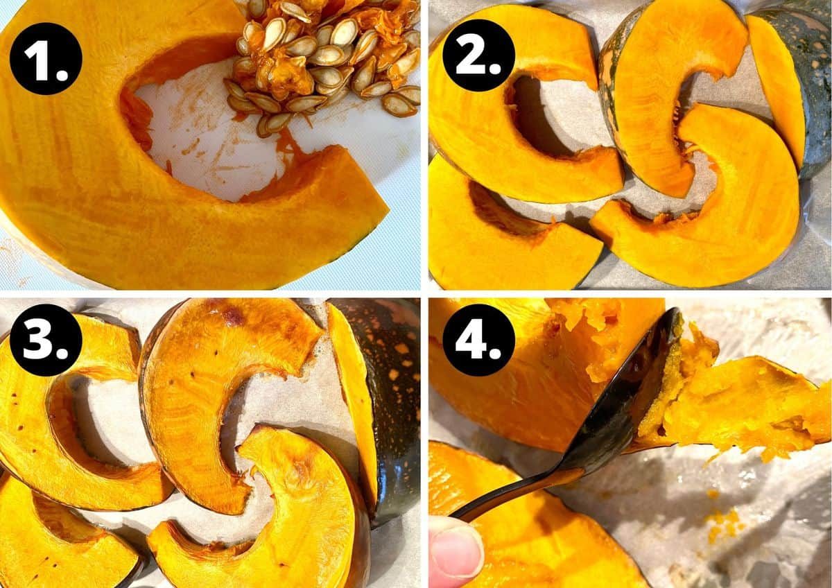 The first four steps to make this recipe in a collage - a slice of pumpkin being de-seeded, slices of pumpkin on a baking tray, the cooked pumpkin on a baking tray and removing the skin from the pumpkin once it is cooked.