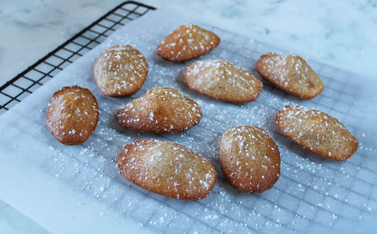 madeleines, dusted with icing sugar, sitting on baking paper, on a cooling rack.