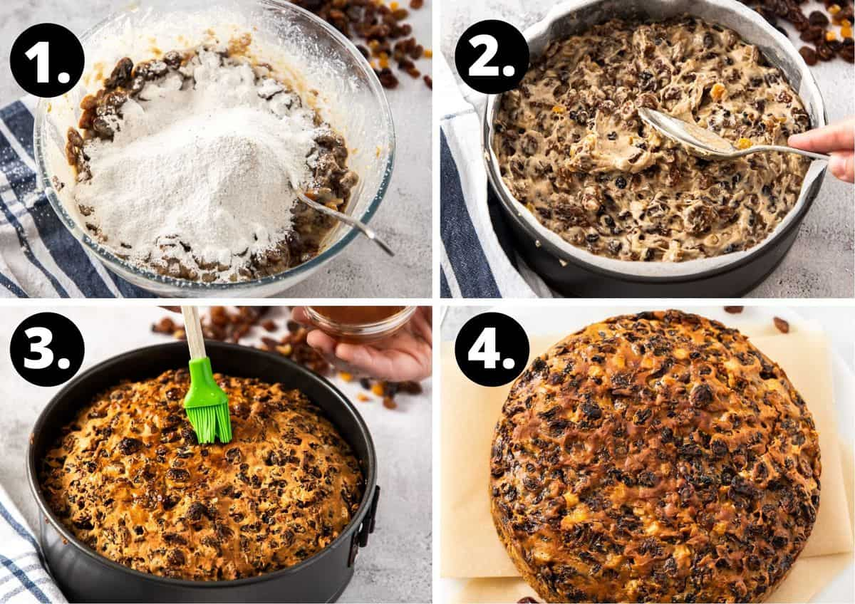 the four steps required to make this recipe - mixing the ingredients, adding to a baking tin, brushing the baked cake with brandy and the finished product on a plate.