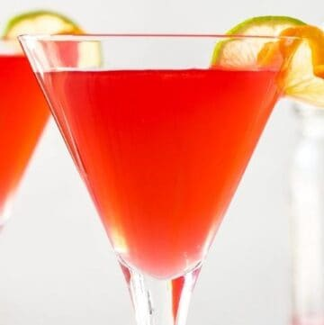 up close shot of two cocktails.