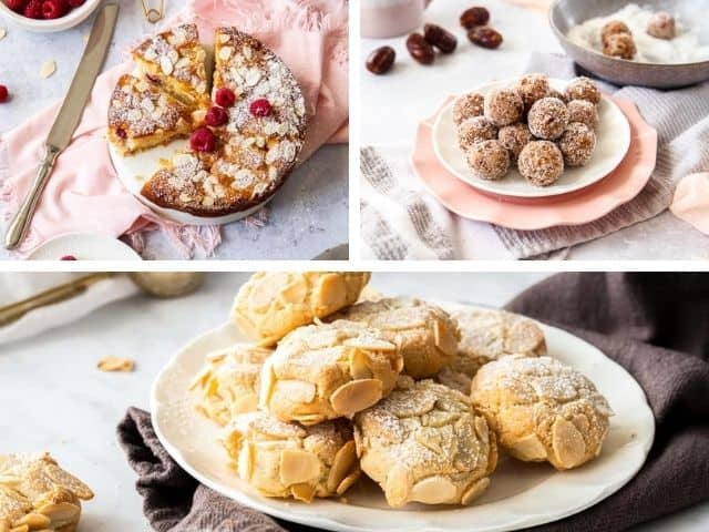 pear cake, salted caramel bliss balls and almond cookies in a photo collage.