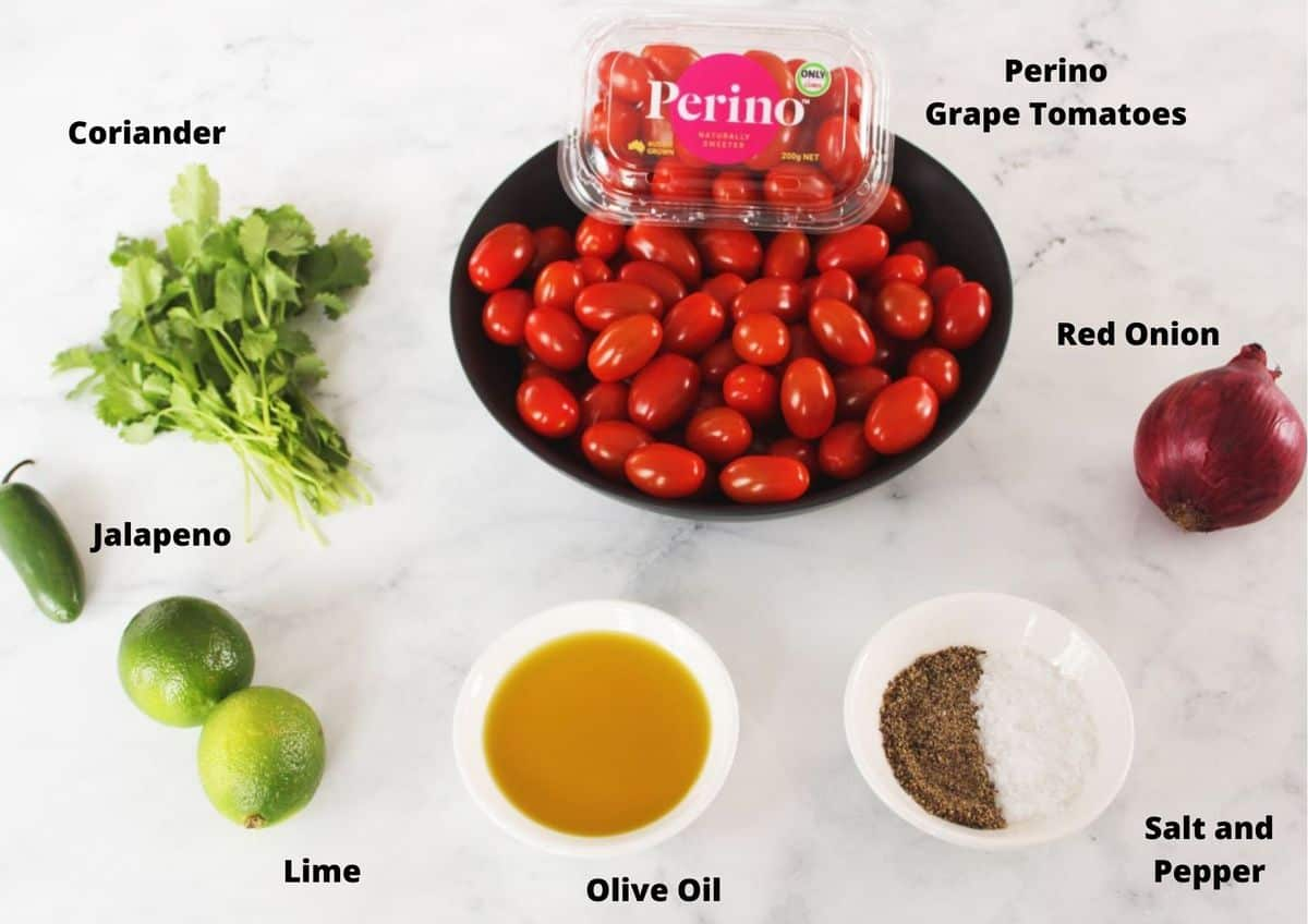 ingredients in salsa recipe on a white marble background.