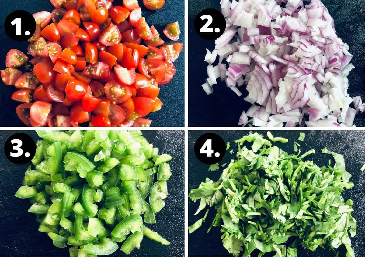 the first four steps to make this recipe - chop tomatoes, chop onion, chop jalapeno and chop coriander.