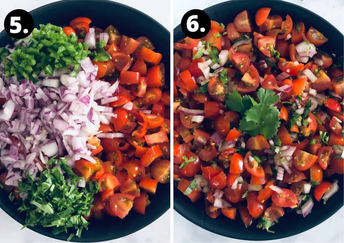 the final two steps to make this recipe - add all ingredients to the bowl, season and mix and serve.
