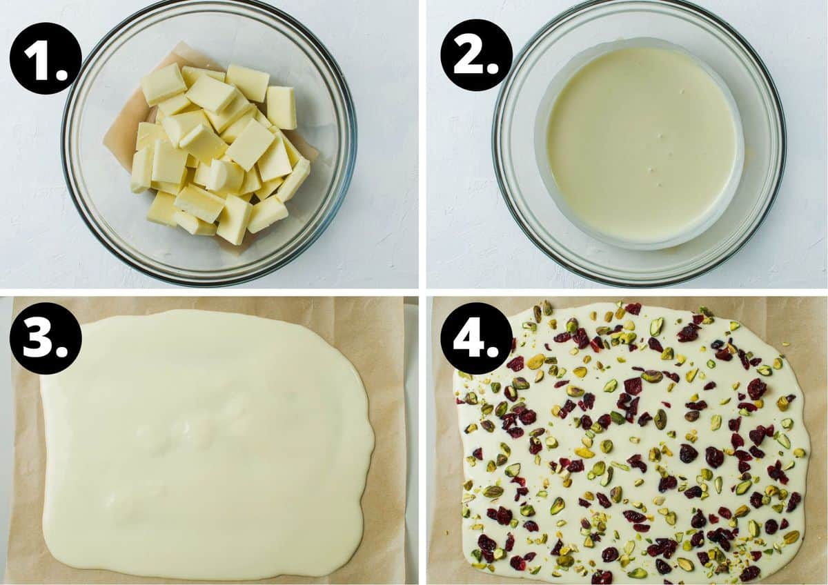 The four steps required to make this recipe - chocolate pieces in a bowl, the melted chocolate in a bowl, spreading the chocolate out on baking paper, and decorating with the pistachio and cranberry.