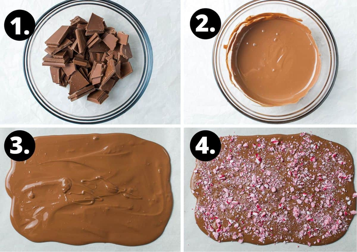 The four steps required to make this recipe - chocolate in a bowl, melted chocolate in a bowl, melted chocolate spread out on baking paper, and the candy cane sprinkled on top of the chocolate.