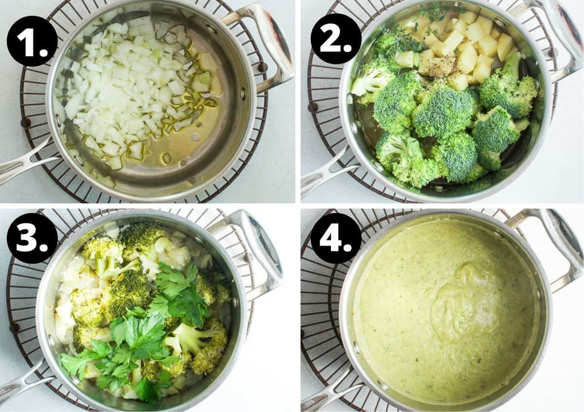 the four steps to make this recipe - sautés the onion in a saucepan, add in the broccoli and potato, cook it, and blend until smooth.