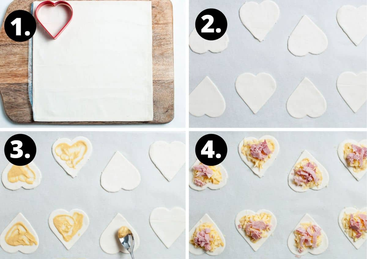 The first four steps to make this recipe - a sheet of pastry with a love heart cutter, cut heats on a baking tray, spreading the mustard on the love hearts, and then adding the ham and cheese.