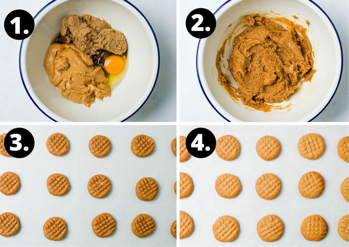 The four steps required to make this recipe - adding all ingredients to a glass bowl, mixing all ingredients, shaping dough and putting on a baking tray, and the cooked cookies on a baking tray.