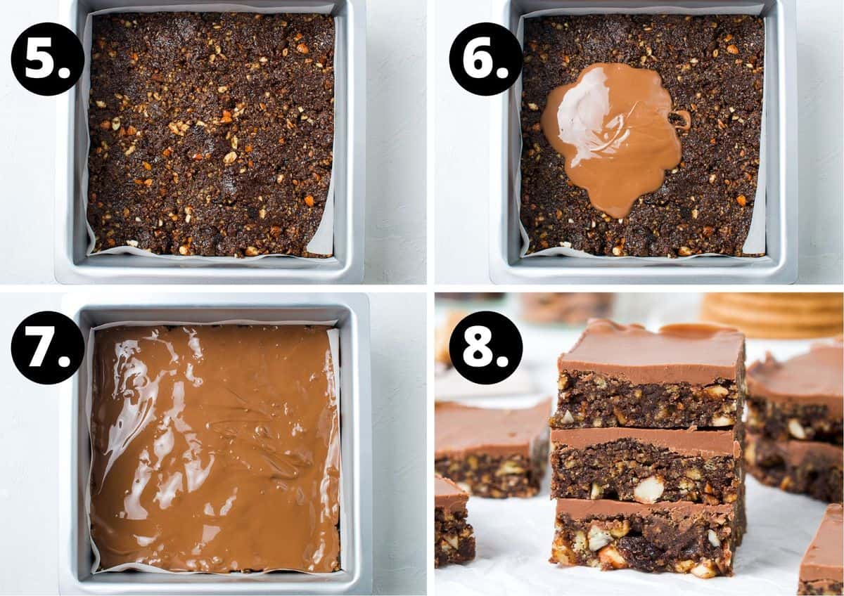 the final four steps to make this recipe - the base in the tin, adding the melted chocolate on top, the chocolate spread out and the sliced finished product.