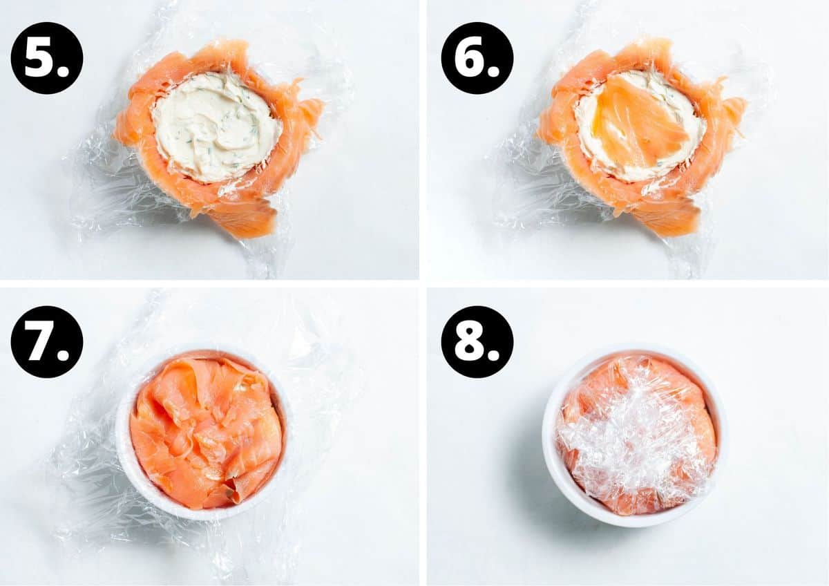 The final four steps in this recipe - adding the filling to the ramekin, topping with more smoked salmon, folding the salmon over and folding the cling film over.
