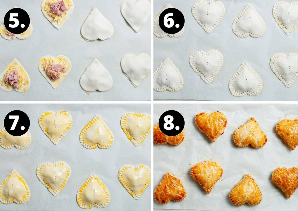 The final four steps to make this recipe - adding the other heart to close the pastry, the eight pastries sealed, pastries brushed with egg wash and then the baked pastries.