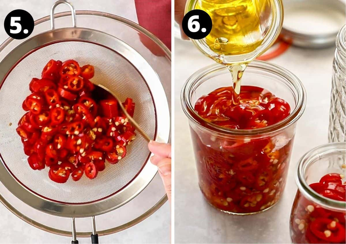 the final two steps to prepare this recipe - draining the brine from the chillies and adding them to a jar with olive oil.