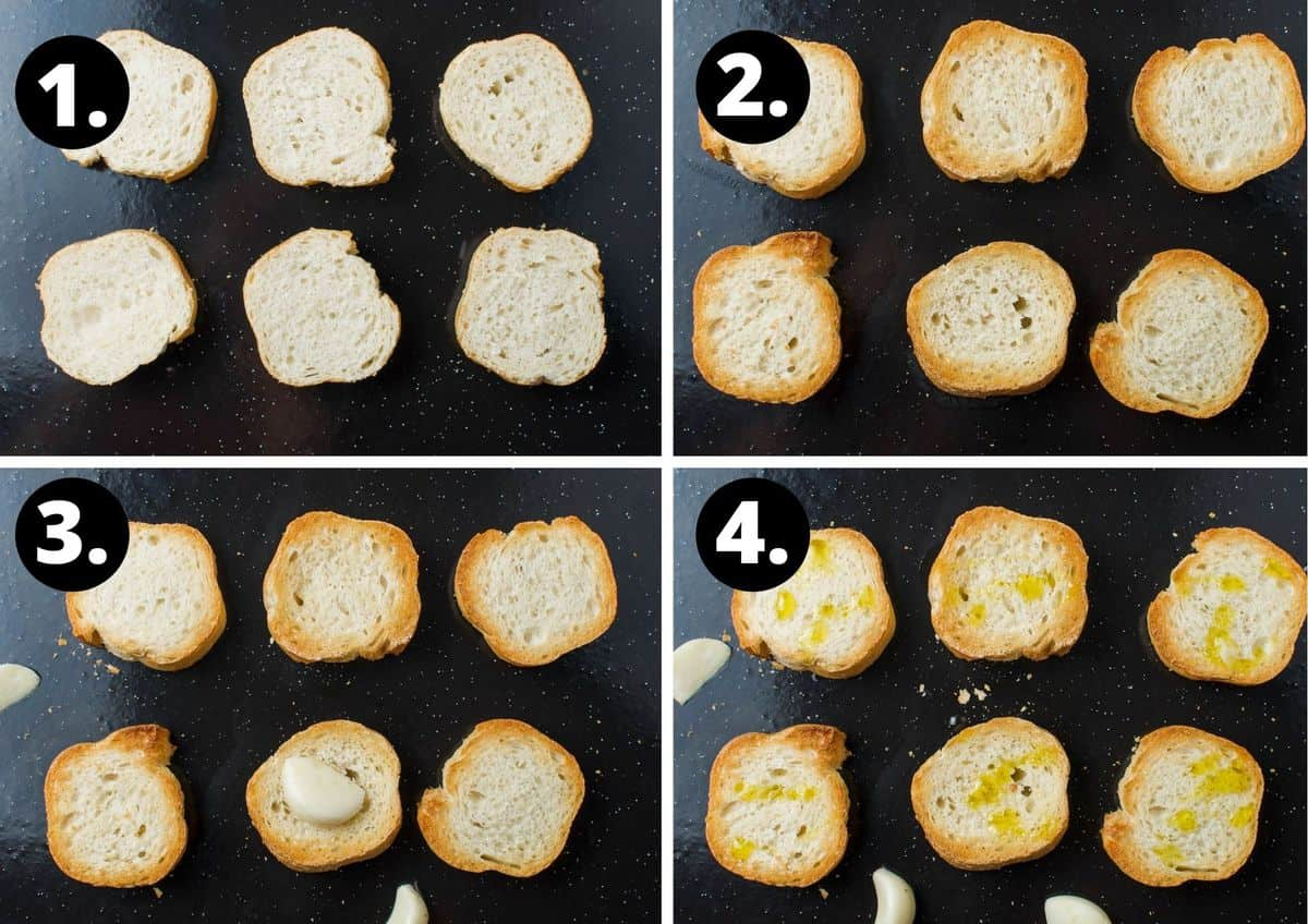 the first four steps to make this recipe - six slices of bread on baking tray, bread toasted on one side, bread toasted on the other side and rubbed with garlic, and the finished toast with olive oil drizzled.