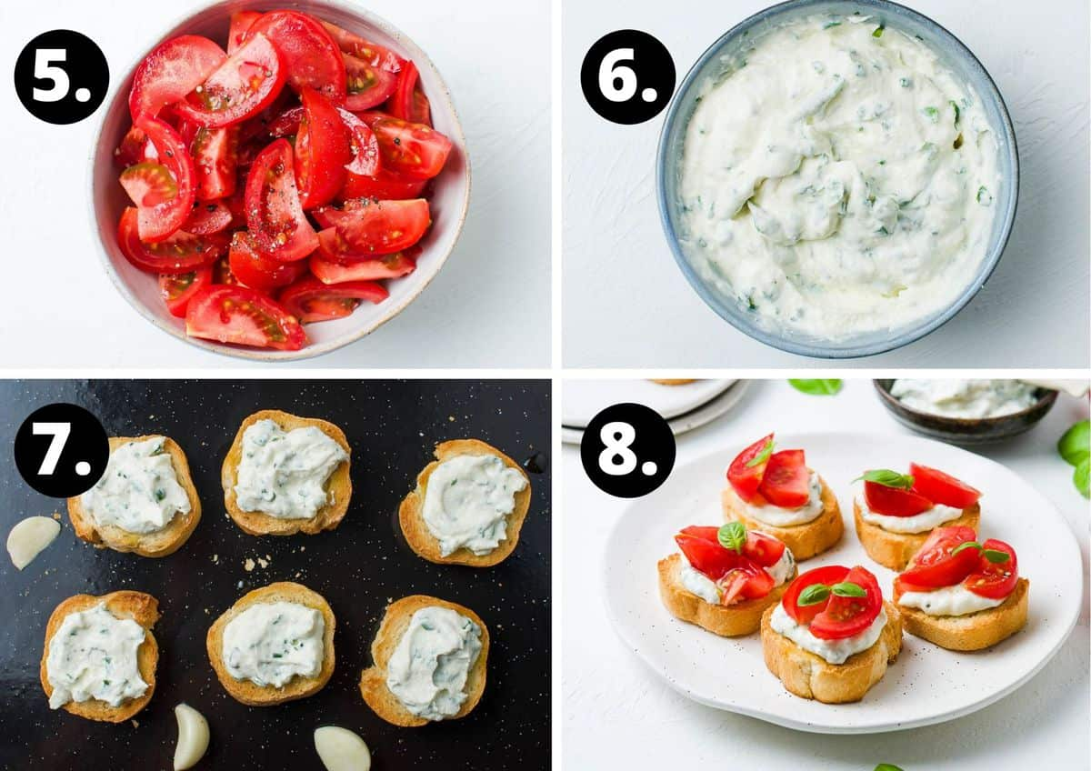 the final four steps to prepare this recipe - chop the tomatoes and season, mix the ricotta and herbs together, spread the ricotta mixture on the toasted bread, and top the bread with tomatoes and serve.