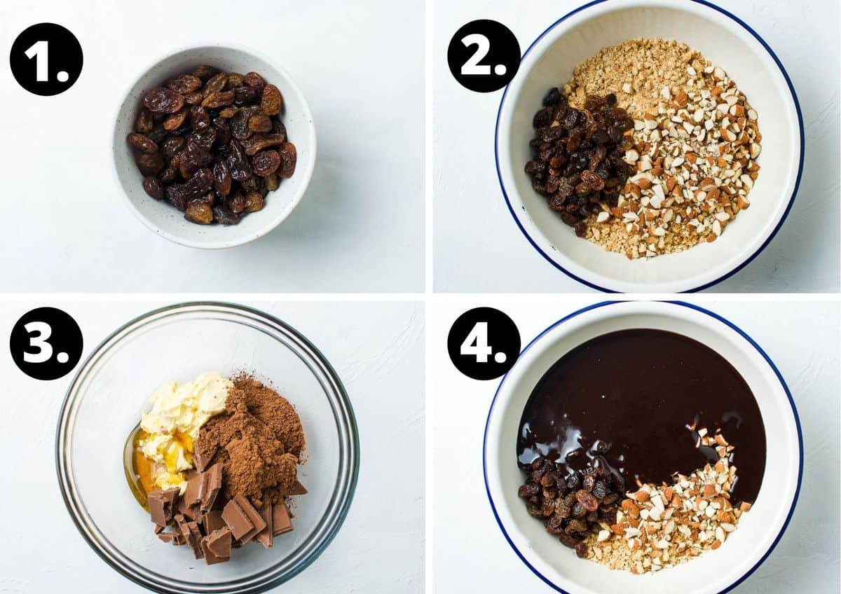 the first four steps to make this recipe - bowl of sultanas soaking in brandy, the dry ingredients in a bowl, the ingredients for the chocolate in a bowl, adding the chocolate to a bowl, and mixing it in.