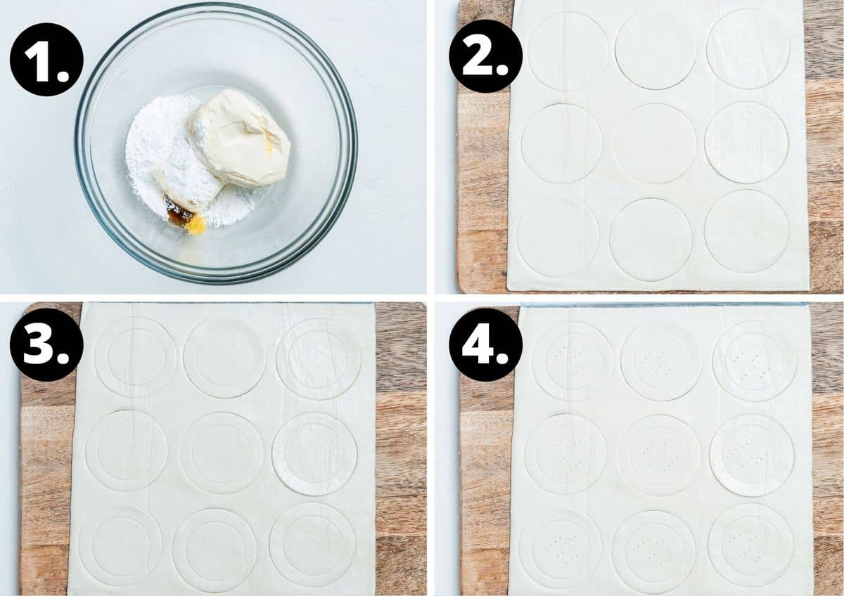The first four steps to make this recipe in a collage - preparing the cream cheese mixture, and cutting out the pastry and scoring it.