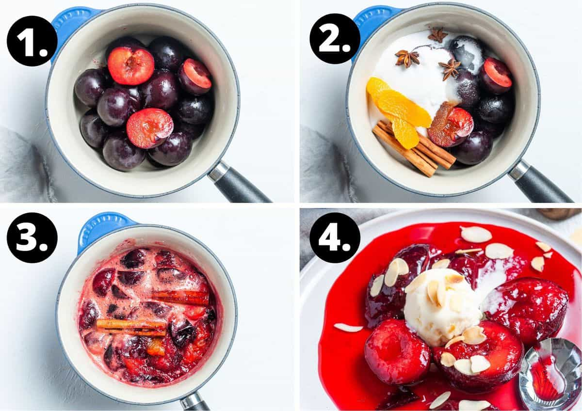 The four steps to prepare this recipe in a photo collage - the plums in a saucepan, the other ingredients added to the saucepan, the plums cooking and the finished product served with ice cream and flaked almonds.