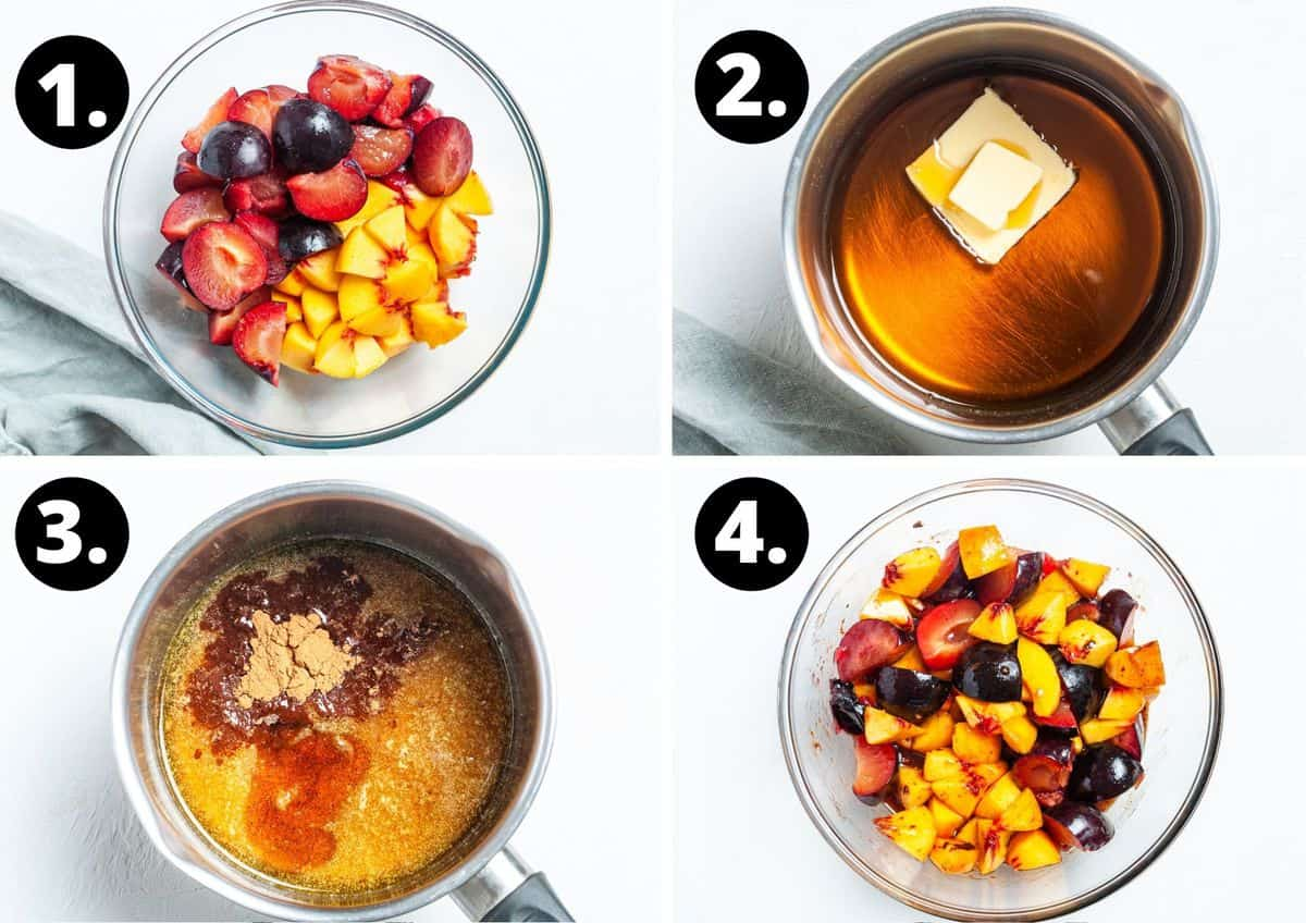 The first four steps to make this recipe in a photo collage - the fruit in a glass bowl, preparing the syrup in a saucepan, and mixing it through the fruit.