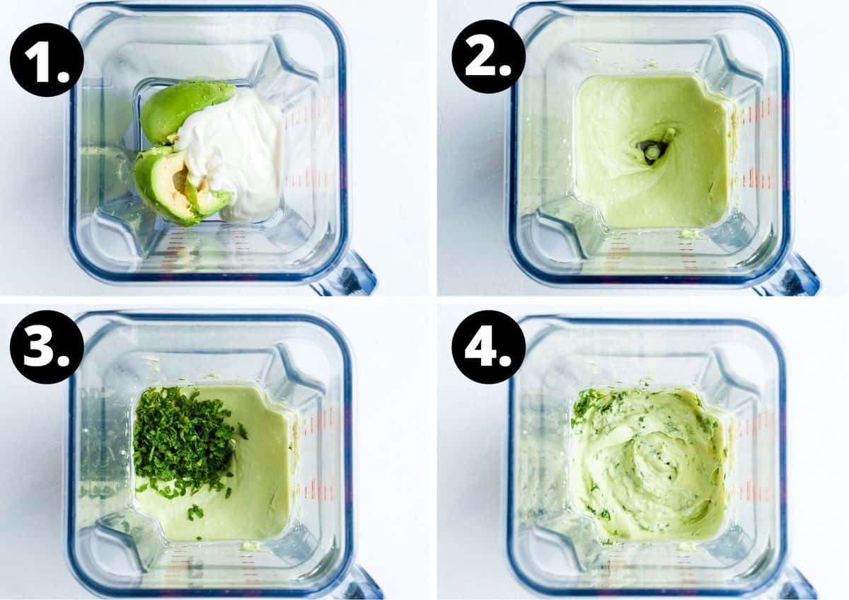 The four steps to making this recipe in a photo collage - adding the ingredients to the blender, blending until smooth, adding the mint to the blender, and blending until smooth.