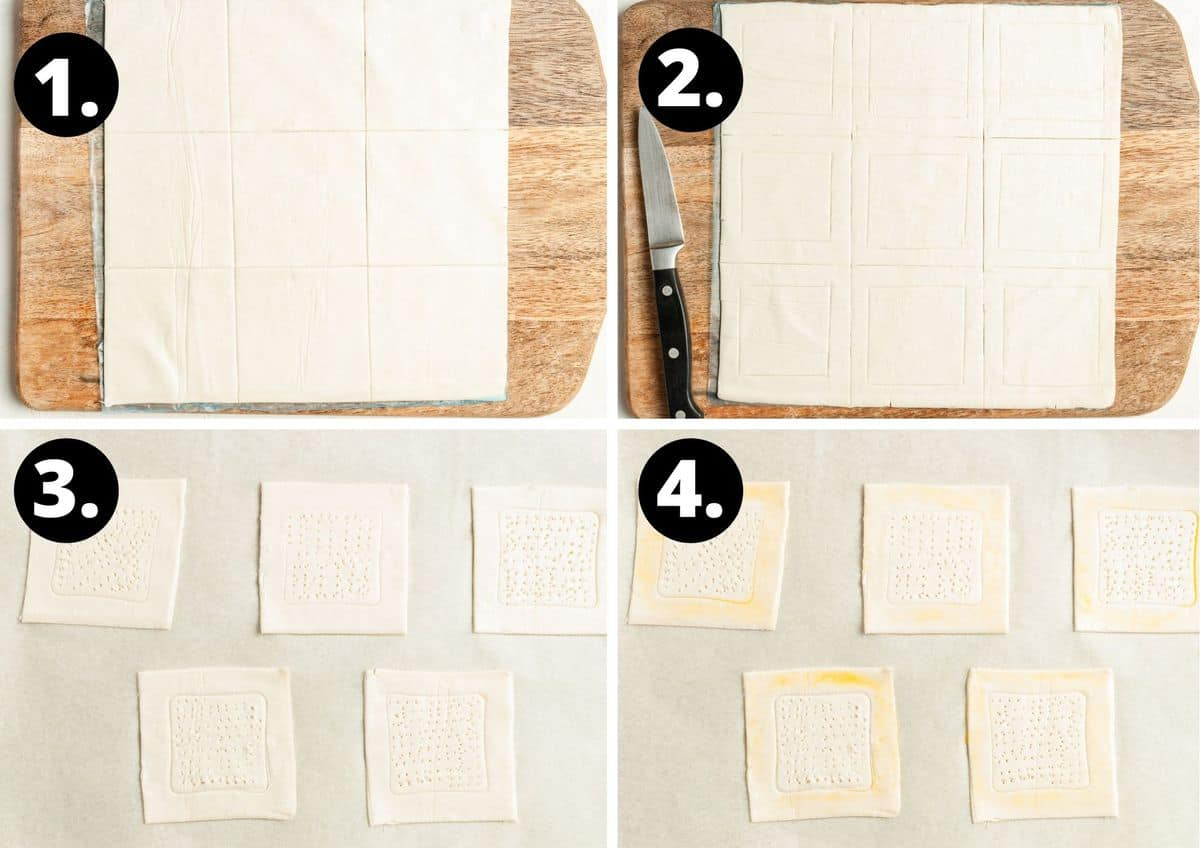 The first four steps to prepare this recipe in a photo collage - cutting the pastry sheet into 9 squares, cutting another square in the middle of each pastry square, scoring the pastry with a fork and brushing the edge of the pastry with beaten egg.