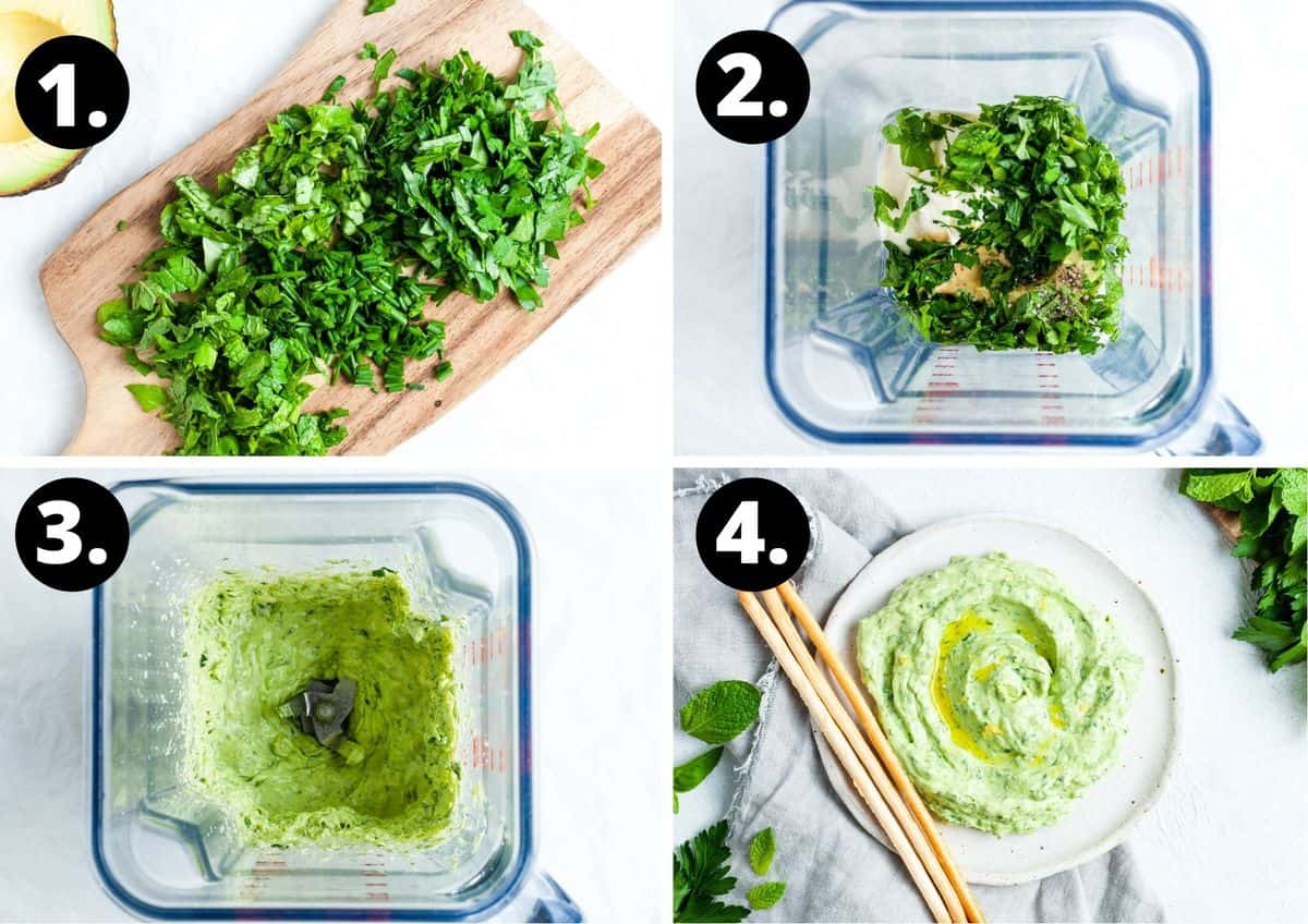 The four steps to make this recipe in a collage - chop the herbs, add all ingredients to a blender, blend until smooth and serve.
