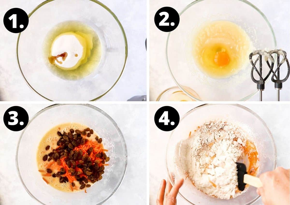 The first four steps to make this recipe in a collage - adding the oil and sugar, then the egg to a bowl, then the remaining ingredients, and folding through the flour.