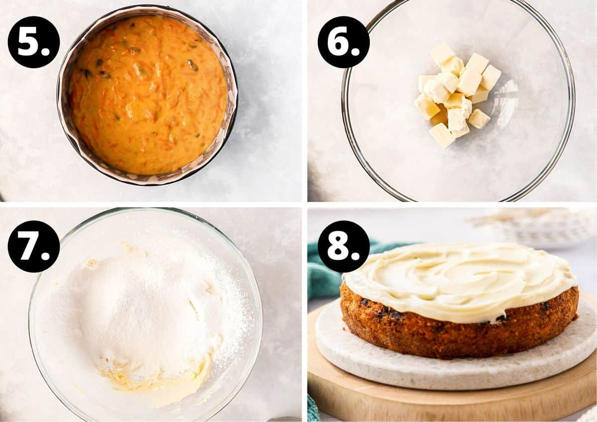 The last four steps to make this recipe in a collage - mixture in cake tin, butter in bowl for icing, icing sugar in bowl and then the iced cake.