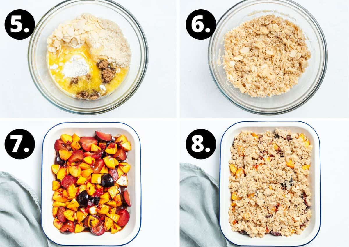The final four steps to make this recipe in a photo collage - mixing the crumble mixture in a glass bowl, the fruit in a baking dish and the crumble on top of the fruit.