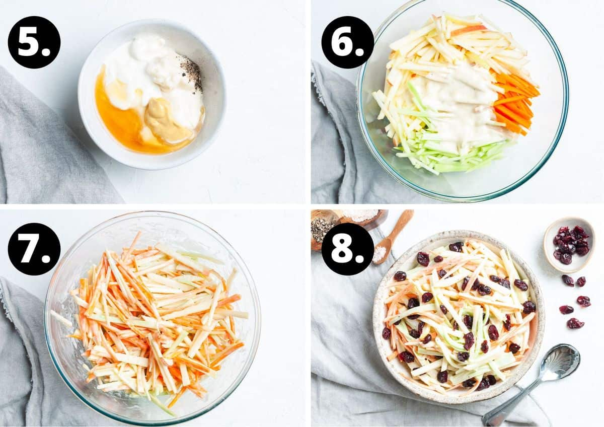 The final four steps to make this recipe in a photo collage - making the dressing, adding the dressing to the vegetables, mixing the salad together and serving the salad.