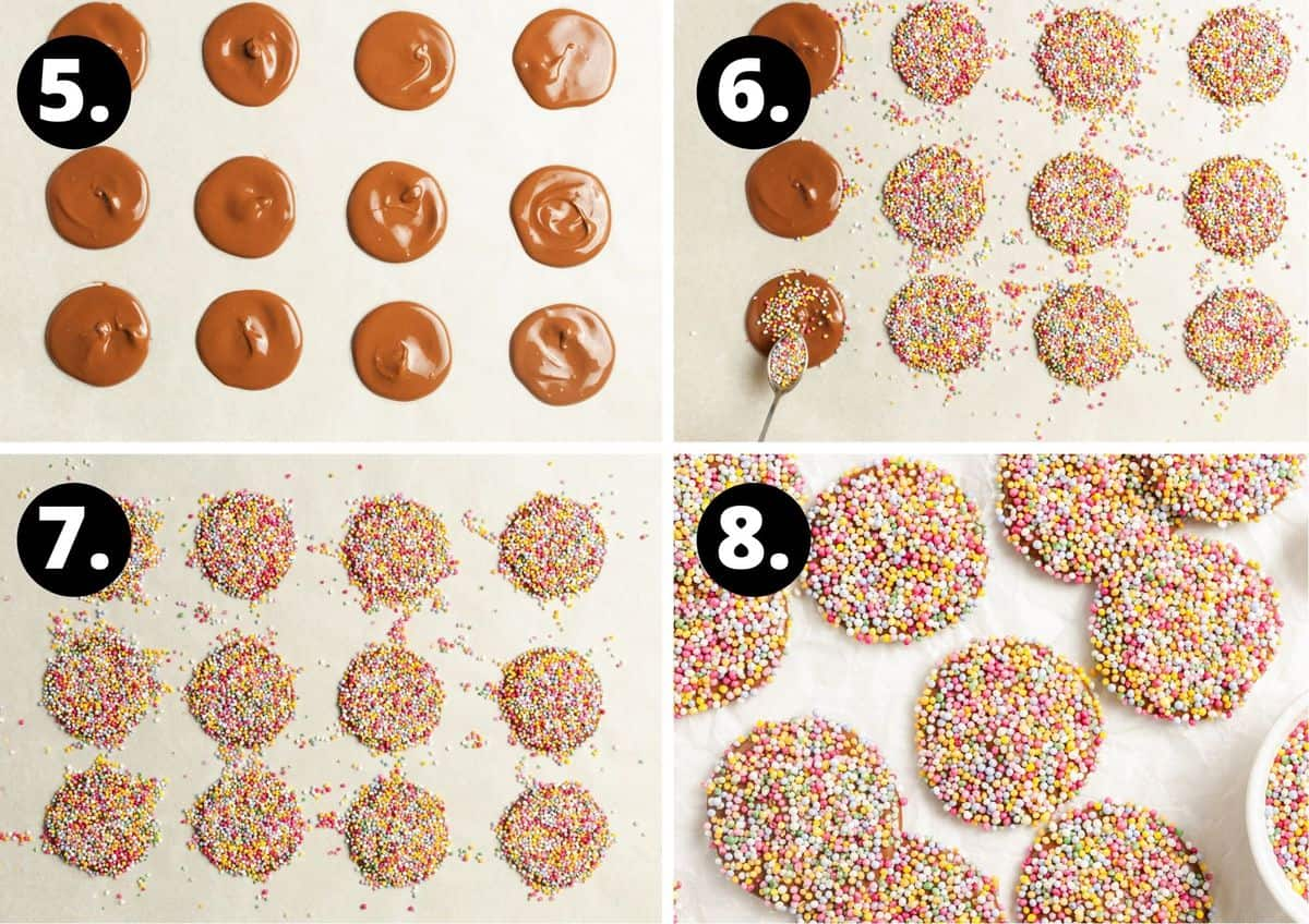 The final four steps to prepare this recipe in a photo collage - the rounds of chocolate, and putting sprinkles on, allowing the chocolate to set and the finished product.