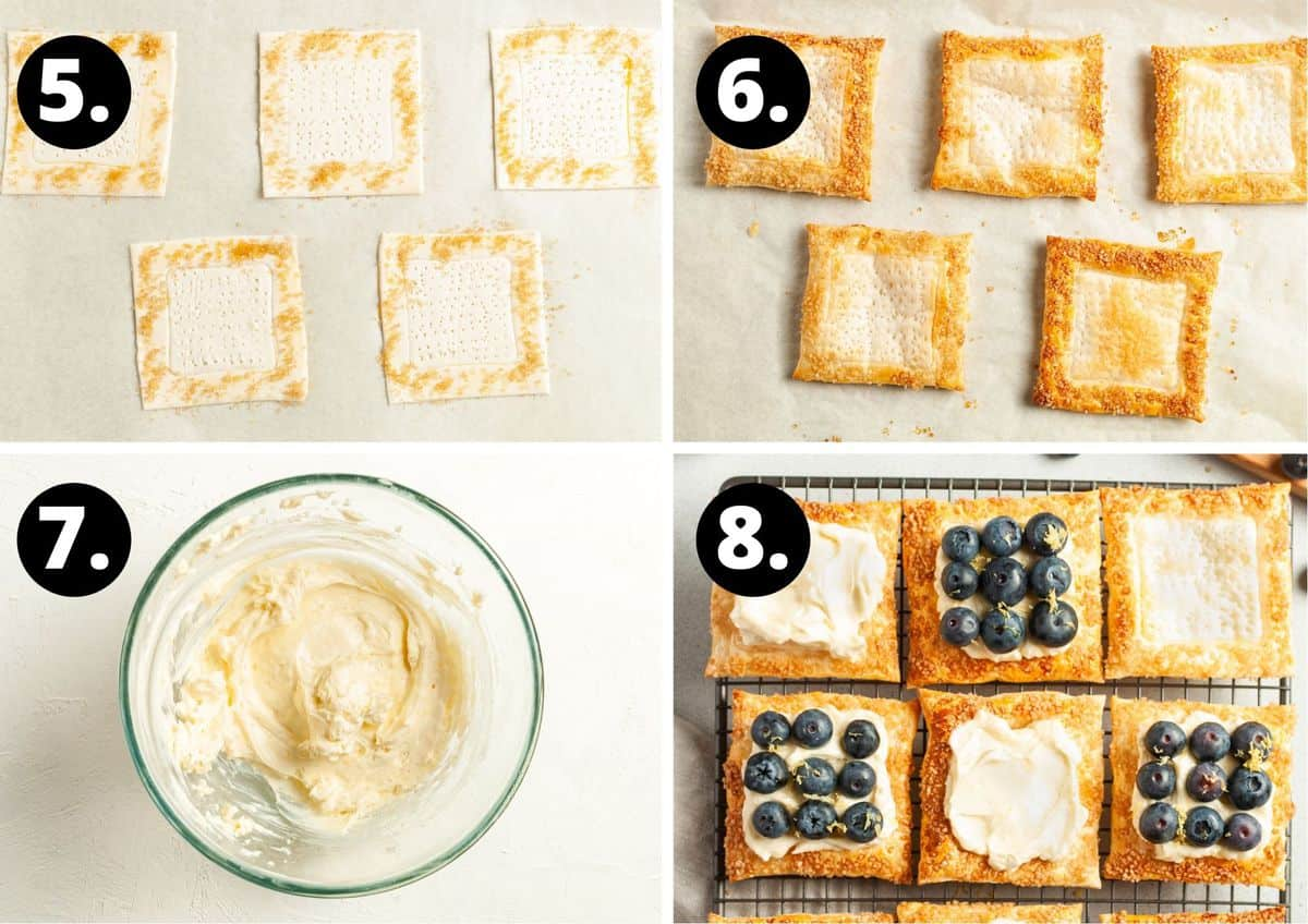 The final four steps to prepare this recipe in a photo collage - the pastry with sugar sprinkled around the edge, the baked pastry, mixing the cream cheese filling and topping the pastry with the cream cheese and blueberries.