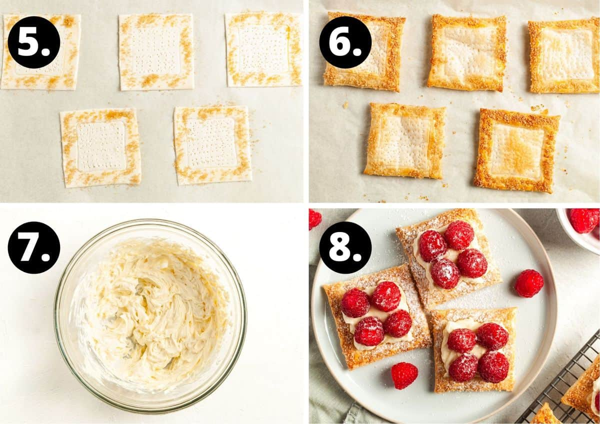 The final four steps to prepare this recipe in a photo collage - the pastry with sugar sprinkled around the edge, the baked pastry, mixing the cream cheese filling and topping the pastry with the cream cheese and raspberries.
