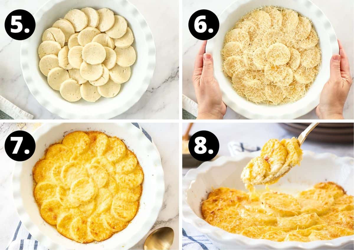 The final four steps to making this recipe in a photo collage - the pieces of gnocchi in the baking dish, covered with melted butter, the baked dish and serving the dish.