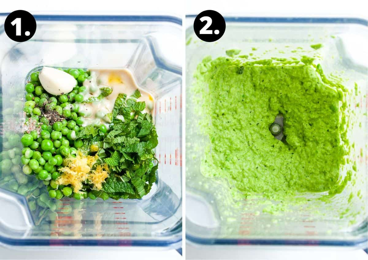 The two steps to make this recipe in a photo collage - all of the ingredients in a blender, and the blended dip.