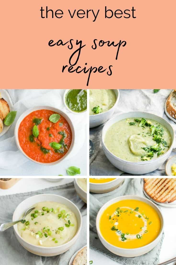 pinterest image with photos of four bowls of soup and text overlay.
