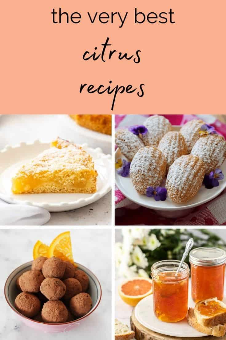 pinterest image with four images of citrus desserts with text overlay.
