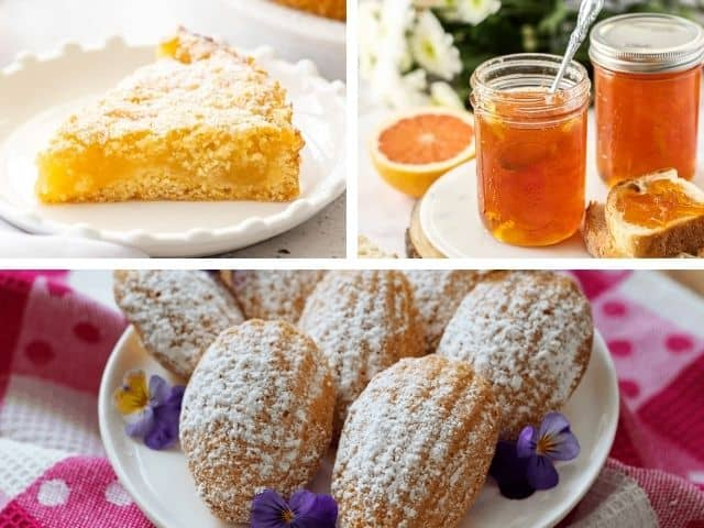 lemon cake, marmalade and madeleines in a photo collage.