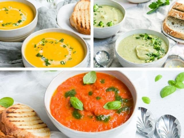 carrot soup, broccoli soup and roasted red pepper soup in a photo collage.