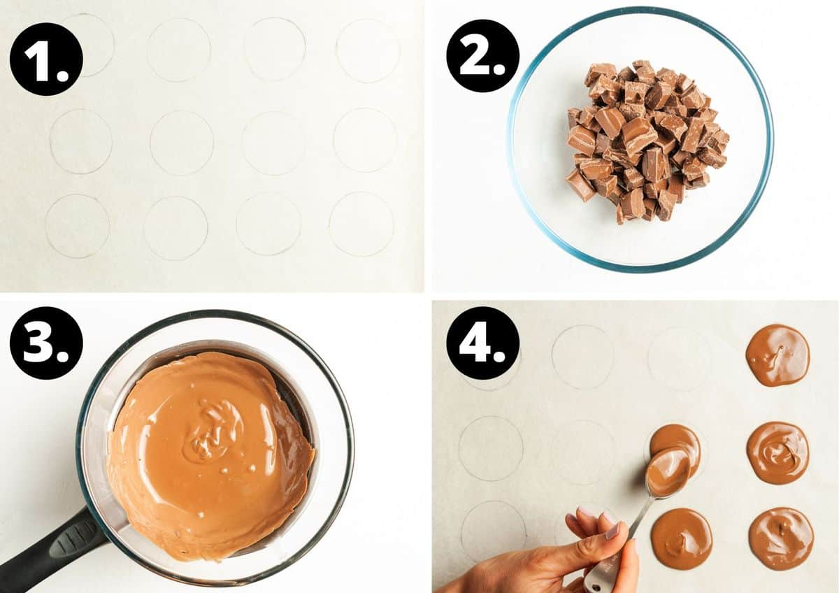 The first four steps to prepare this recipe in a photo collage - the circles on baking paper, a bowl of chocolate, the chocolate having being melted, and spooning the chocolate onto the circles.