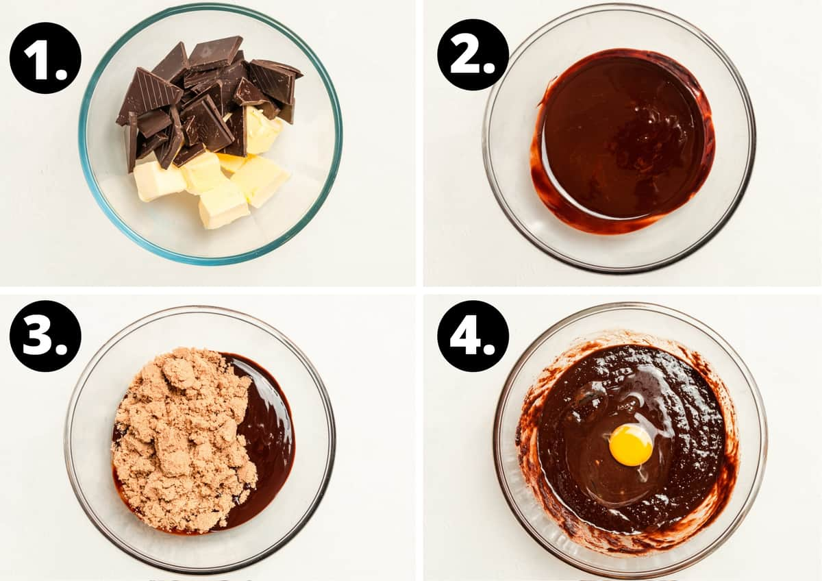 Steps 1-4 of the recipe in a photo collage - chocolate and butter in a bowl, the melted chocolate and butter, adding the brown sugar to the melted chocolate, and adding the eggs.