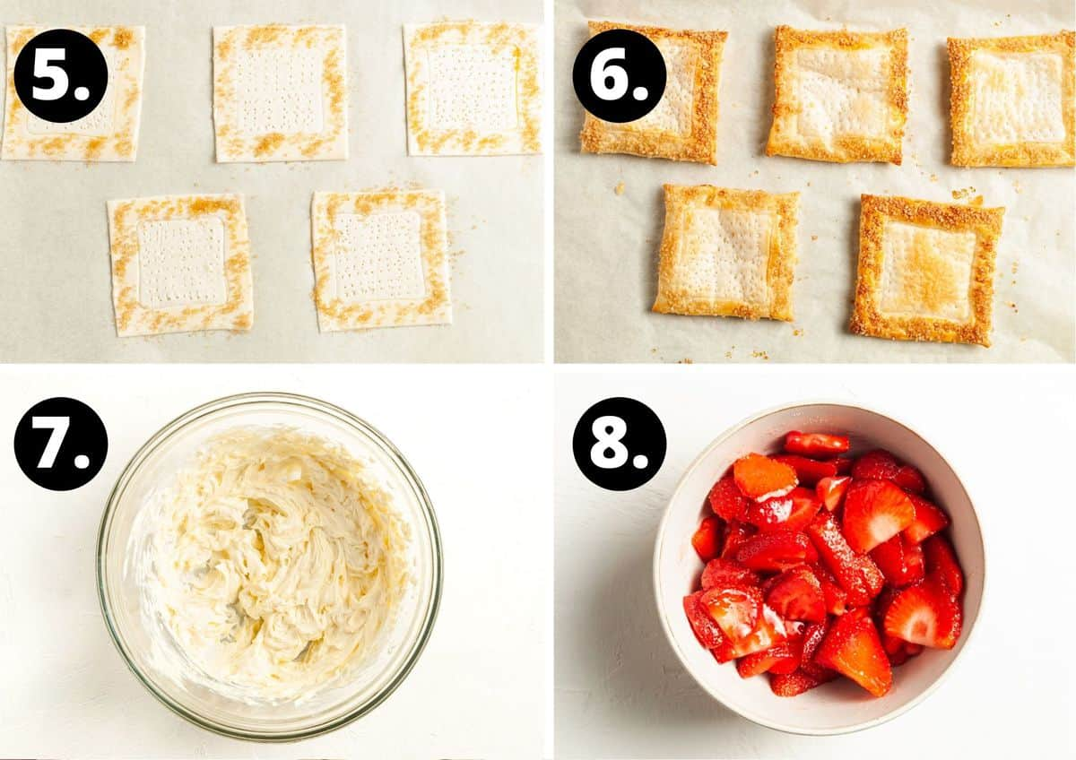 Steps 5-8 of making this recipe in a photo collage - sprinkling the edges of the pastry with sugar, the baked pastry squares, making the cream cheese mixture in a bowl and the cut up strawberries in a bowl.