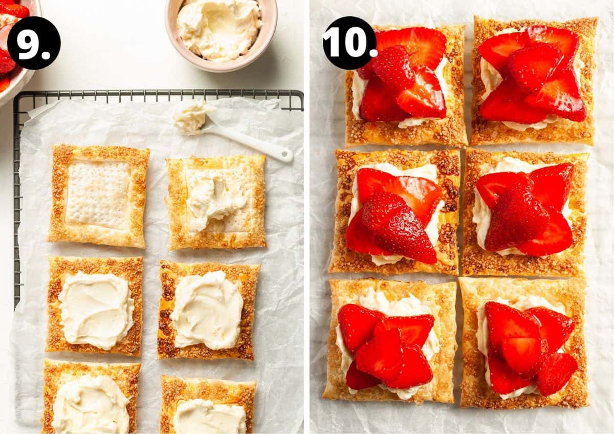 The final two steps to prepare this recipe in a photo collage - topping the squares with cream cheese and then adding the strawberries.